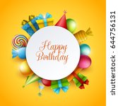 birthday background. vector... | Shutterstock .eps vector #644756131