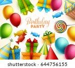 birthday background. vector... | Shutterstock .eps vector #644756155