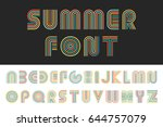 colorful striped funny font.... | Shutterstock .eps vector #644757079