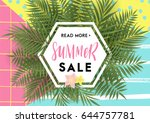 summer greeting card and poster ... | Shutterstock .eps vector #644757781
