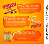fun summer banners set   hat... | Shutterstock .eps vector #644757859