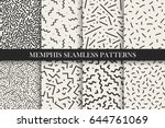 memphis seamless patterns  ... | Shutterstock .eps vector #644761069