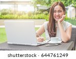 young beautiful asian woman... | Shutterstock . vector #644761249