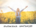 happy smiling woman in yellow... | Shutterstock . vector #644764189