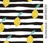 cool summer print with lemon  | Shutterstock .eps vector #644764255