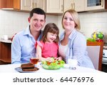 dad  mom and their little... | Shutterstock . vector #64476976