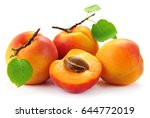 Apricot Fruit With Leaves On...