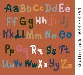 hand drawn alphabet. brush...   Shutterstock . vector #644774791