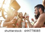 happy friends having boat party ... | Shutterstock . vector #644778085