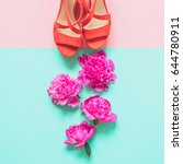 Coral Sandals With Peonies...