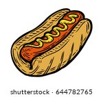 hot dog sausage with mustard in ... | Shutterstock .eps vector #644782765
