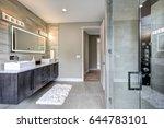 contemporary master bathroom... | Shutterstock . vector #644783101