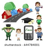 cartoon houses  education and... | Shutterstock .eps vector #644784001