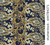 seamless pattern with paisley... | Shutterstock .eps vector #644784271