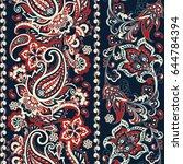 ornate seamless  damask... | Shutterstock .eps vector #644784394