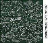 desserts sweets food doodle... | Shutterstock .eps vector #644784607