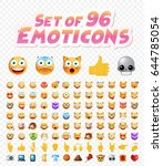 set of 96 cute emoticons on... | Shutterstock .eps vector #644785054