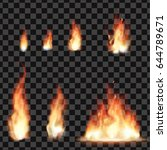 set of bright realistic fire... | Shutterstock .eps vector #644789671