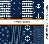 set of 8 marine vector seamless ... | Shutterstock .eps vector #644789887