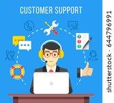 customer support. call center... | Shutterstock .eps vector #644796991