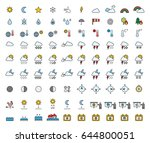 weather filled line icons | Shutterstock .eps vector #644800051