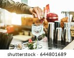 bartender preparing cocktail... | Shutterstock . vector #644801689