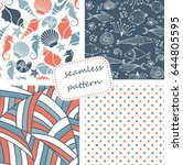 set of 4 seamless patterns in... | Shutterstock .eps vector #644805595