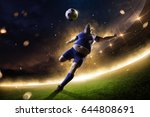 fat soccer player in action.... | Shutterstock . vector #644808691