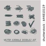set of 14 trendy smeared vector ... | Shutterstock .eps vector #644810119