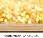 empty brown wood table top with ... | Shutterstock . vector #644813221