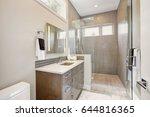contemporary bathroom features... | Shutterstock . vector #644816365
