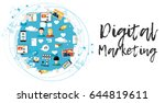 digital marketing abstract... | Shutterstock .eps vector #644819611