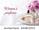 women's perfume. tray with... | Shutterstock . vector #644822521