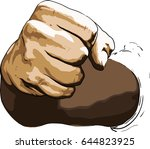 strong blow with a fist... | Shutterstock .eps vector #644823925