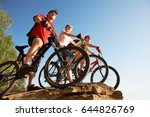 three bicyclists on the brink... | Shutterstock . vector #644826769