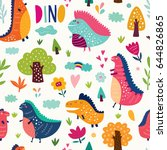 seamless pattern with cute... | Shutterstock .eps vector #644826865
