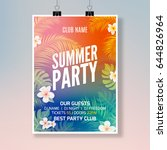 summer tropical party flyer... | Shutterstock .eps vector #644826964