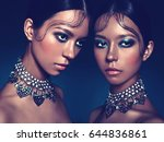 fashion studio portrait of two... | Shutterstock . vector #644836861