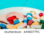 medicine green and yellow pills ... | Shutterstock . vector #644837791