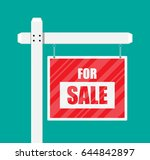 for sale wooden placard. real... | Shutterstock . vector #644842897