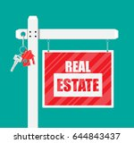 wooden placard. real estate... | Shutterstock . vector #644843437