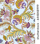 seamless pattern with paisley... | Shutterstock .eps vector #644848999