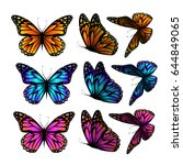 set of butterflies. vector | Shutterstock .eps vector #644849065