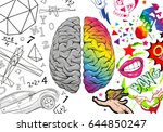 versus human brain right and... | Shutterstock .eps vector #644850247