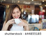 smiling asia woman in a good... | Shutterstock . vector #644855185