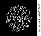 hand drawn dry brush font.... | Shutterstock .eps vector #644855419
