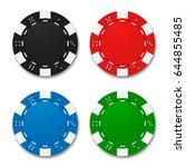 poker chips isolated on white... | Shutterstock .eps vector #644855485