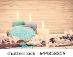 spa candle and salt. cosmetic... | Shutterstock . vector #644858359