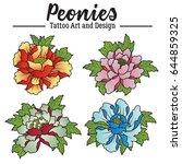 vector peonies colorful set | Shutterstock .eps vector #644859325