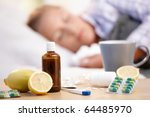 vitamins  medicines and hot tea ... | Shutterstock . vector #64485970